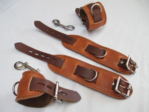 London Tan/Italian Chocolate Coloured Leather Locking Restraint 4 Piece Cuffs Set (Wrist & Ankles)
